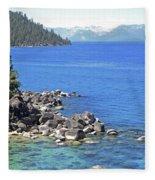 Pines Boulders And Crystal Waters Of Lake Tahoe Fleece Blanket