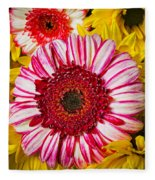 Pink And Yellow Mums Fleece Blanket