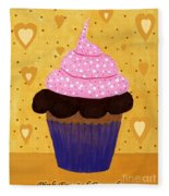 Pink Frosted Cupcake Fleece Blanket