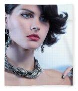 Portrait Of A Beautiful Woman Wearing Jewellery Fleece Blanket