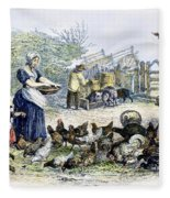 Poultry Yard, 1847 Fleece Blanket