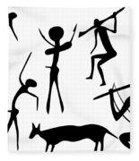 Primitive Art - Various Figures Fleece Blanket