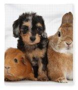 Pup, Guinea Pig And Rabbit Fleece Blanket