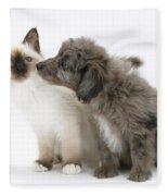 Puppy And Kitten Fleece Blanket