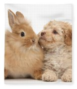 Puppy And Rabbit Fleece Blanket