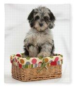 Puppy In A Basket Fleece Blanket