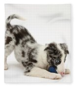 Puppy Playing With A Ball Fleece Blanket