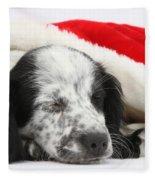 Puppy Sleeping In Christmas Hat Fleece Blanket