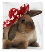 Rabbit Wearing A Hat Fleece Blanket
