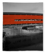 Red Covered Bridge Fleece Blanket