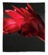Red Ginger Alpinia Purpurata Flower Fleece Blanket