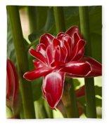 Red Ginger Lily Fleece Blanket