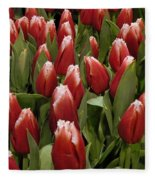 Red Tulip Heaven Fleece Blanket