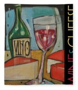 Red Wine And Cheese Poster Fleece Blanket