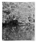 Reflections On The North Fork River In Black And White Fleece Blanket