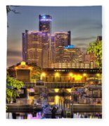 Renaissance Center Detroit Mi Fleece Blanket