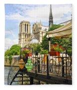 Restaurant On Seine Fleece Blanket