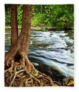 River Through Woods Fleece Blanket