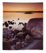 Rocky Shore At Twilight Fleece Blanket