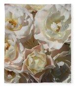Romantic White Roses Fleece Blanket