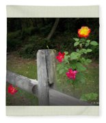 Roses And Fence  Fleece Blanket