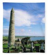 Round Tower, Ardmore, Co Waterford Fleece Blanket