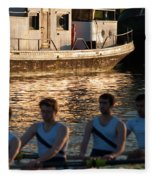 Rowers At Sunset Fleece Blanket