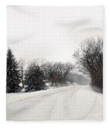 Rural Road In Winter Fleece Blanket
