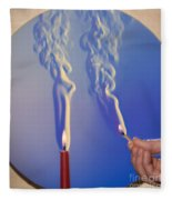 Schlieren Image Of A Candle And Match Fleece Blanket