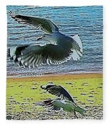 Sea Gulls In Flight  Fleece Blanket