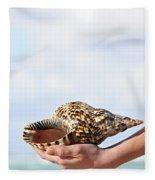 Seashell In Hand Fleece Blanket