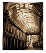 Sepia Toned Image Of Leadenhall Market London Fleece Blanket