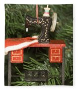 Sewing Machine Ornament Fleece Blanket