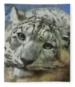 Snow Leopard Painterly Fleece Blanket