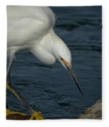 Snowy Egret 8 Fleece Blanket