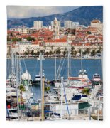 Split Cityscape Fleece Blanket