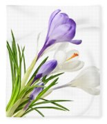 Spring Crocus Flowers Fleece Blanket