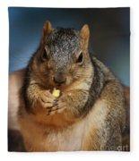 Squirrel Eating Corn Fleece Blanket