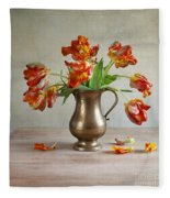 Still Life With Tulips Fleece Blanket