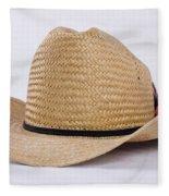 Straw Weave Cowboy Hat Fleece Blanket