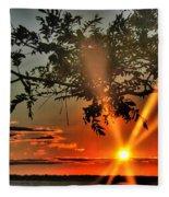 Summers Breeze Sunsets Through Tress Fleece Blanket