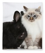 Tabby-point Birman Cat And Black Rabbit Fleece Blanket