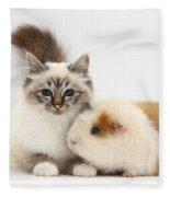 Tabby-point Birman Cat And Guinea Pig Fleece Blanket
