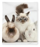 Tabby-point Birman Cat And Rabbits Fleece Blanket