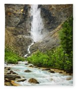 Takakkaw Falls Waterfall In Yoho National Park Canada Fleece Blanket
