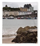 Tenby Harbour From North Beach Fleece Blanket