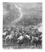 Texas: Cattle Drive, 1867 Fleece Blanket