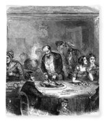 Thanksgiving Dinner, 1850 Fleece Blanket