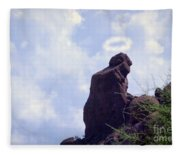 The Praying Monk With Halo - Camelback Mountain Fleece Blanket