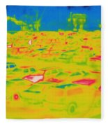 Thermogram Of Cars In A Parking Lot Fleece Blanket